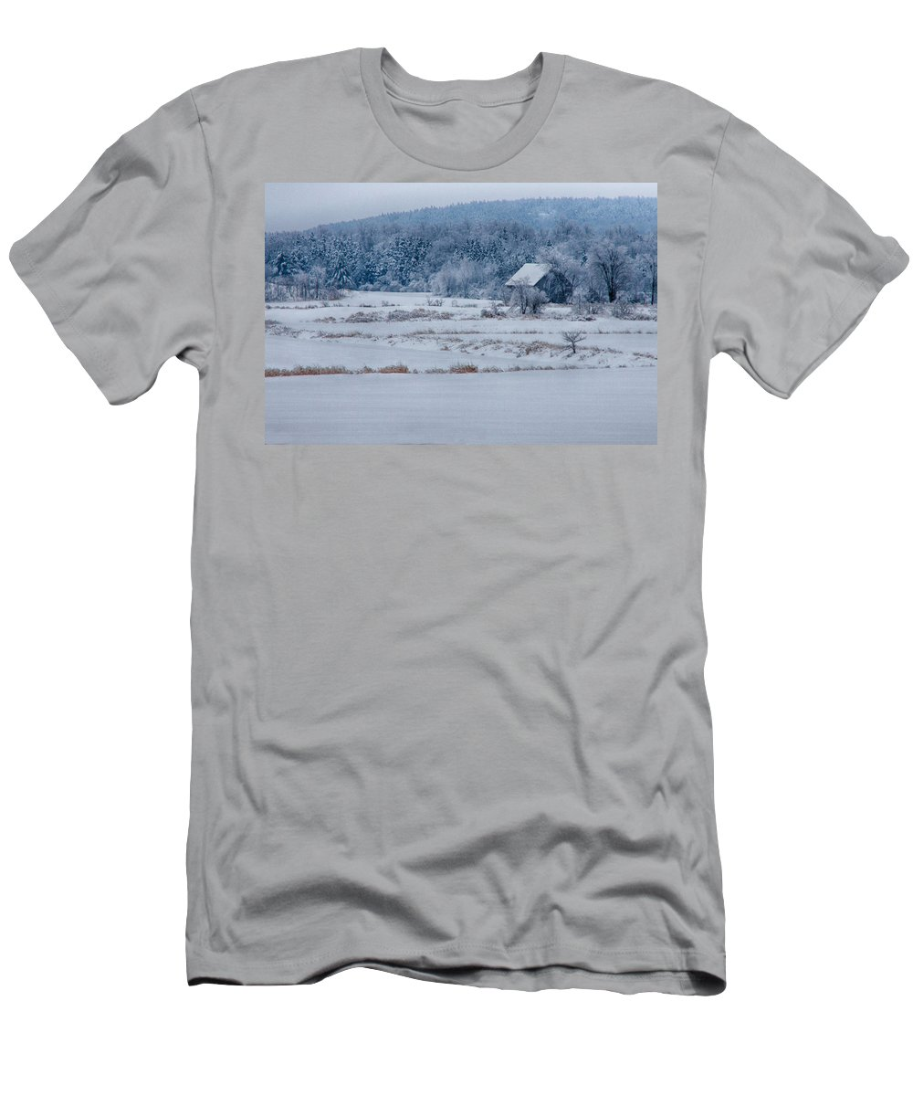 Scenic Vermont Photographs Men's T-Shirt (Athletic Fit) featuring the photograph Cold Blue Snow by Jeff Folger