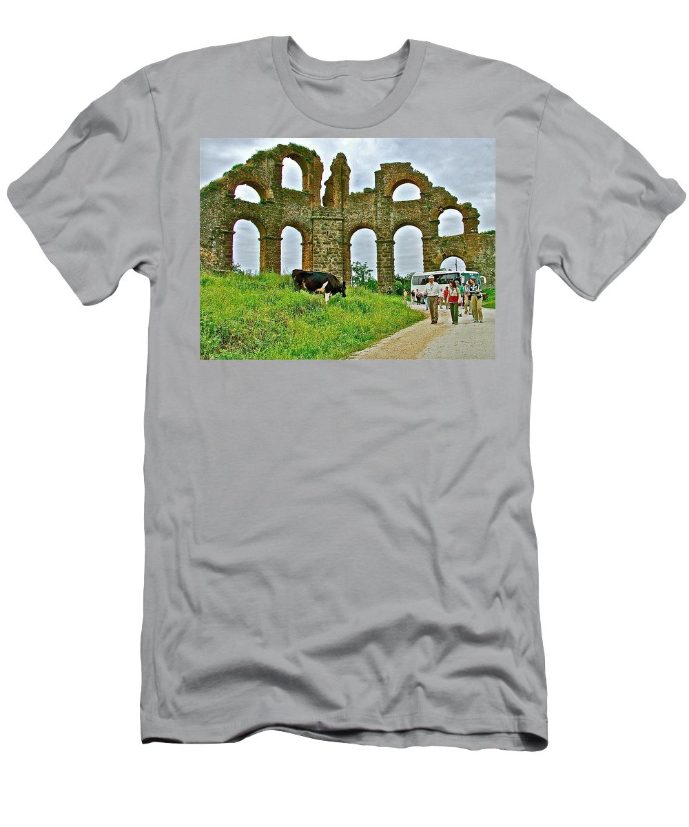 Cow By Second Century Aspendos Aqueduct Men's T-Shirt (Athletic Fit) featuring the photograph Cow By Second Century Aspendos Aqueduct-turkey by Ruth Hager