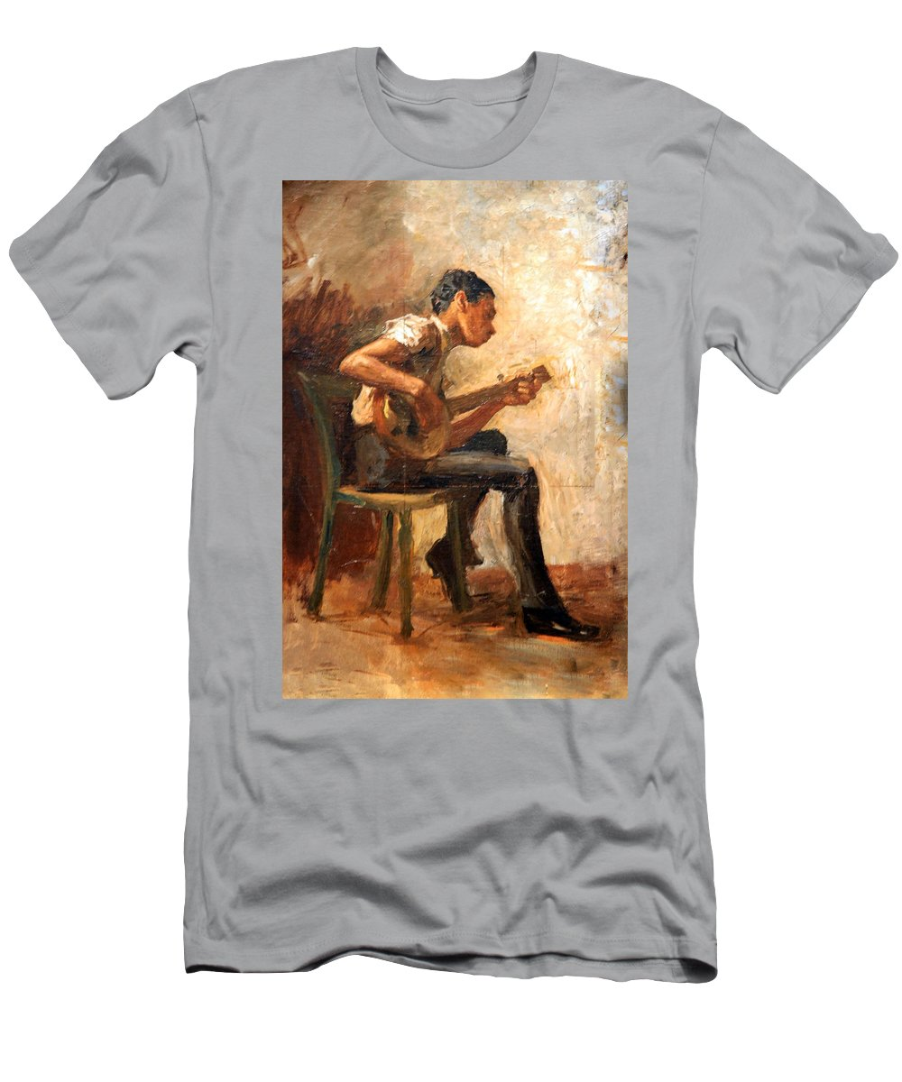 Study For Negro Boy Dancing Men's T-Shirt (Athletic Fit) featuring the photograph Eakins' Study For Negro Boy Dancing -- The Banjo Player by Cora Wandel