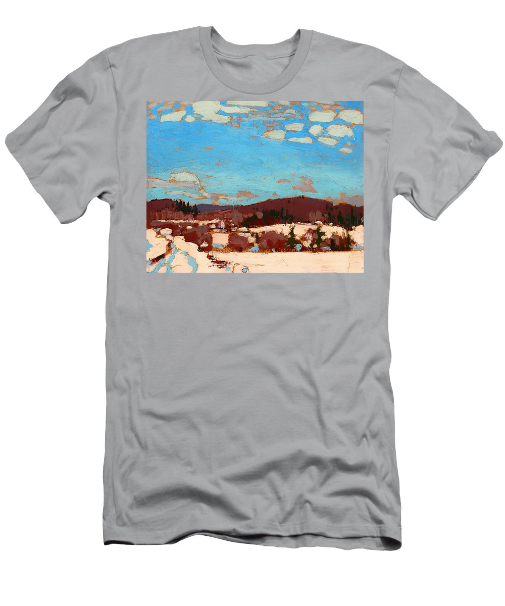 Painting Men's T-Shirt (Athletic Fit) featuring the painting Early Spring by Mountain Dreams