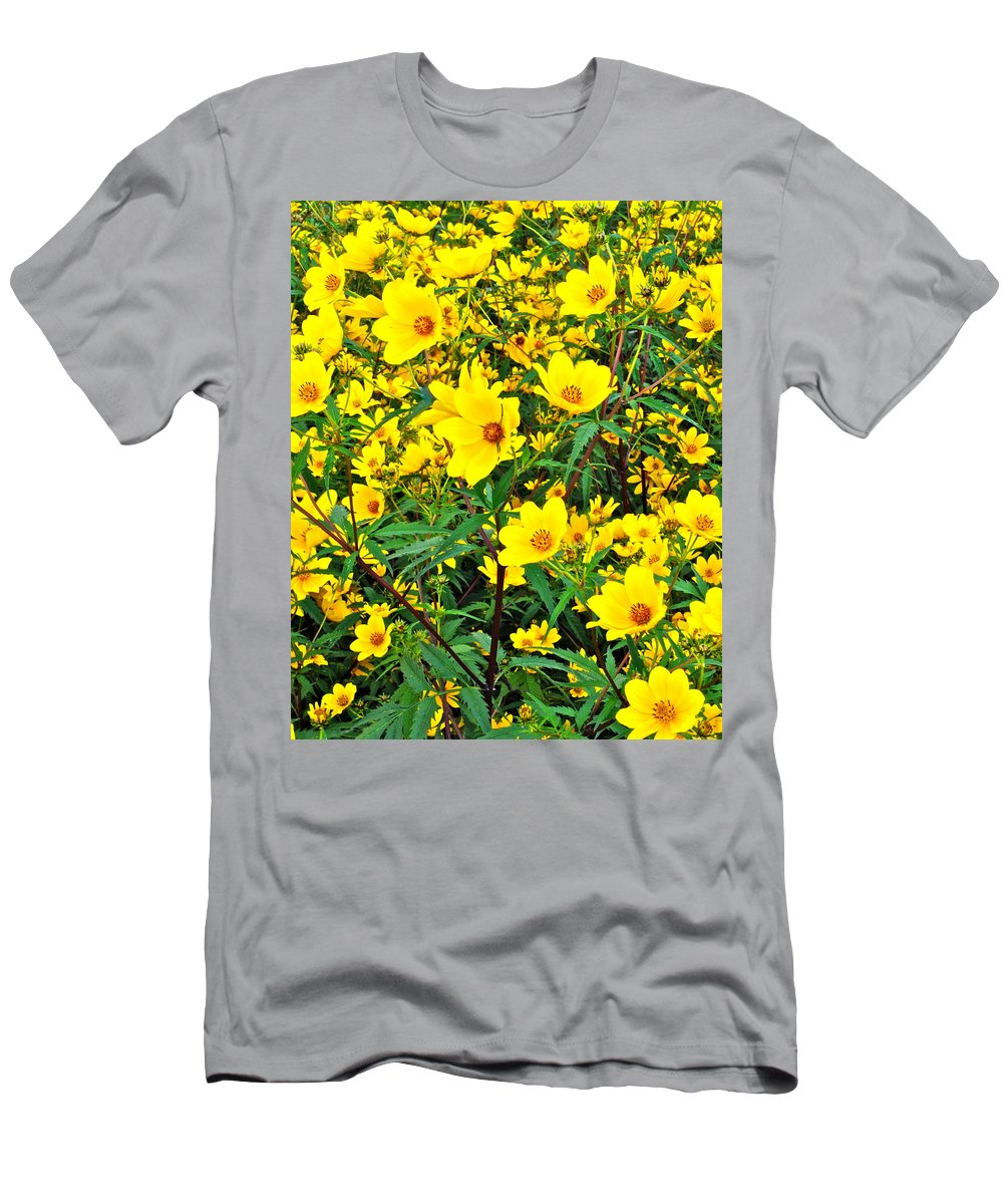 Flowers Men's T-Shirt (Athletic Fit) featuring the photograph Field Of Flowers by Frozen in Time Fine Art Photography