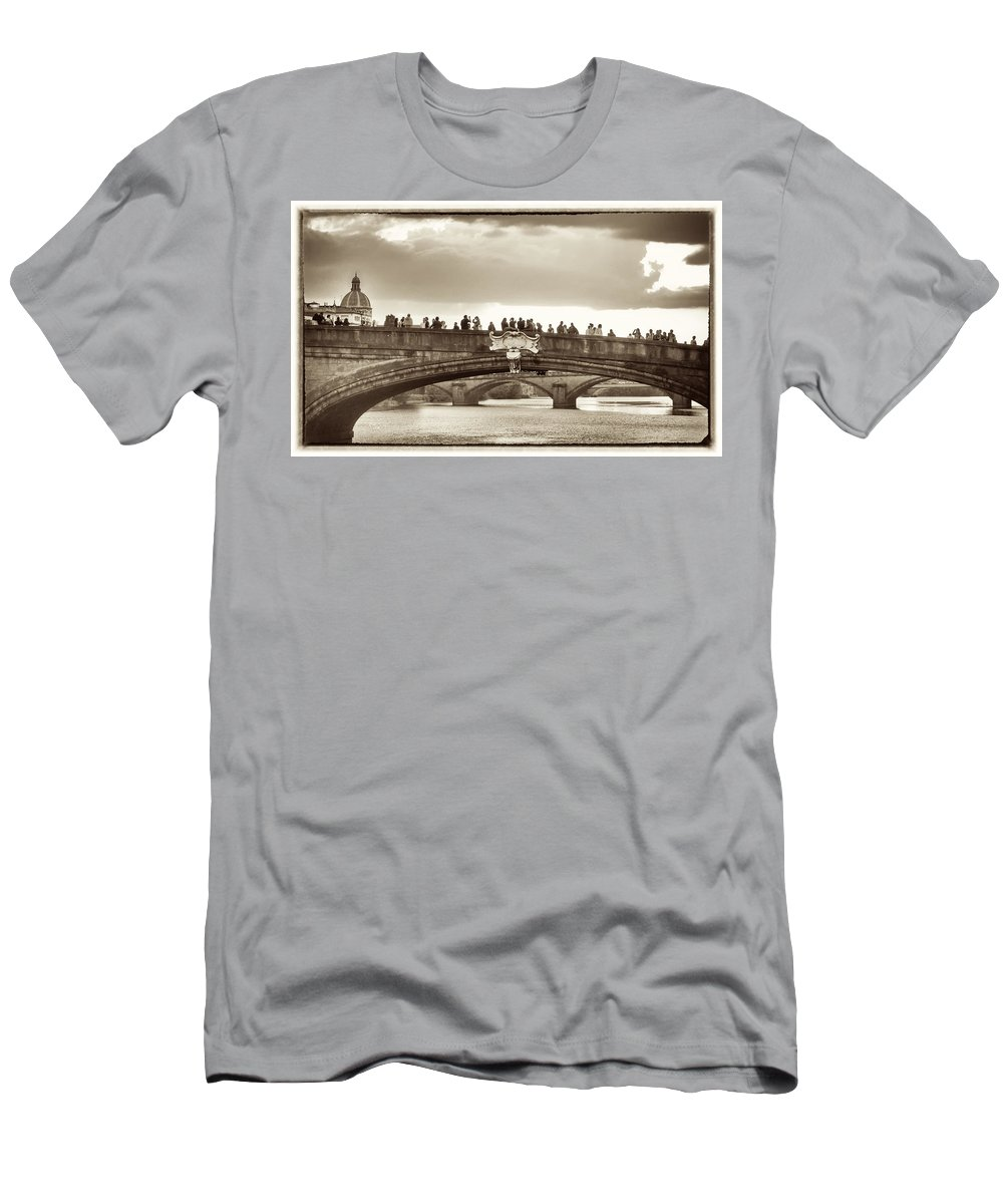 Florence Men's T-Shirt (Athletic Fit) featuring the photograph Florence Bridge by Jim Lipschutz