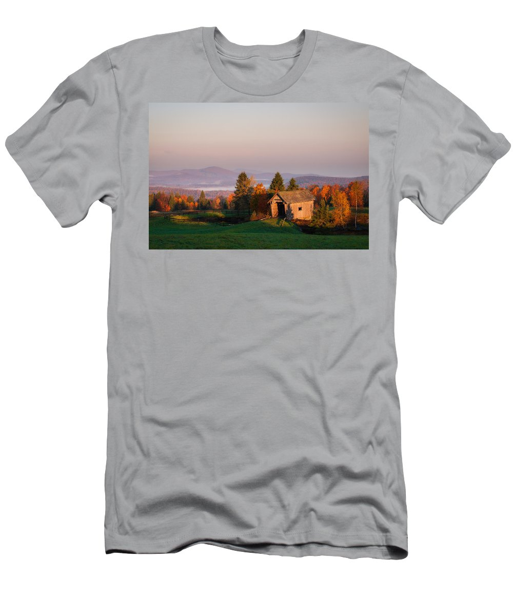 A.m. Foster Men's T-Shirt (Athletic Fit) featuring the photograph Fog In The Valley by Michael Blanchette