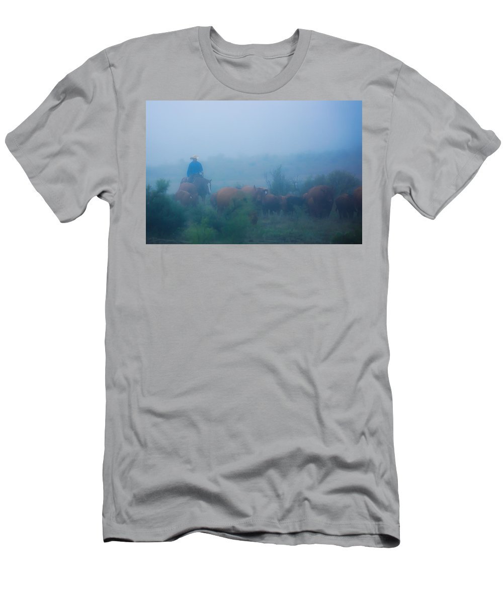Livestock Men's T-Shirt (Athletic Fit) featuring the photograph Foggy Morning Gather by Kelli Brown