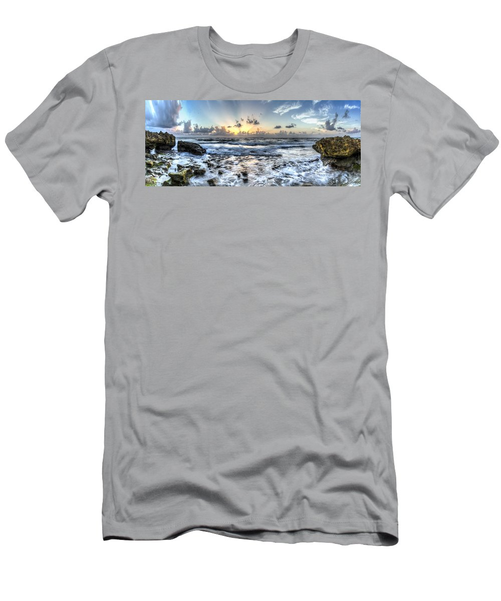 Blue Men's T-Shirt (Athletic Fit) featuring the photograph God's Glory by Debra and Dave Vanderlaan
