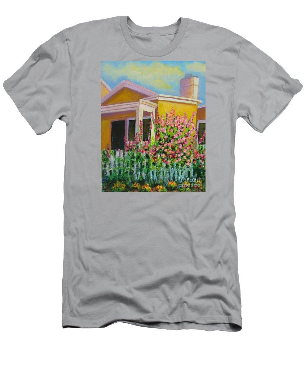 Hollyhock T-Shirt featuring the painting Hot Hollyhocks by Laurie Morgan