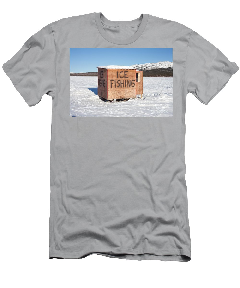Alone Men's T-Shirt (Athletic Fit) featuring the photograph Ice Fishing Hut by Stephan Pietzko
