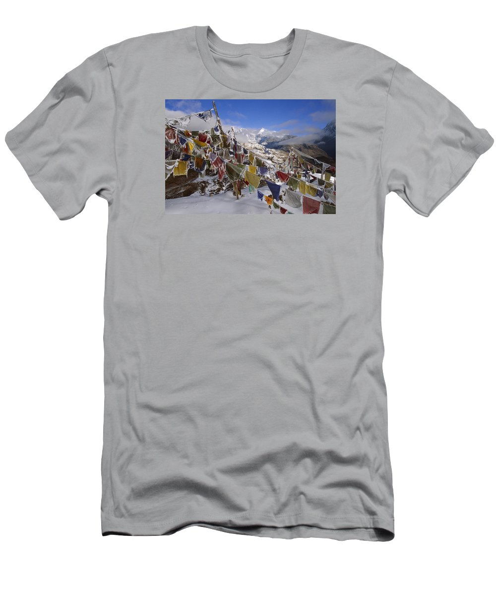 Feb0514 Men's T-Shirt (Athletic Fit) featuring the photograph Icy Prayer Flags Himalaya by Colin Monteath