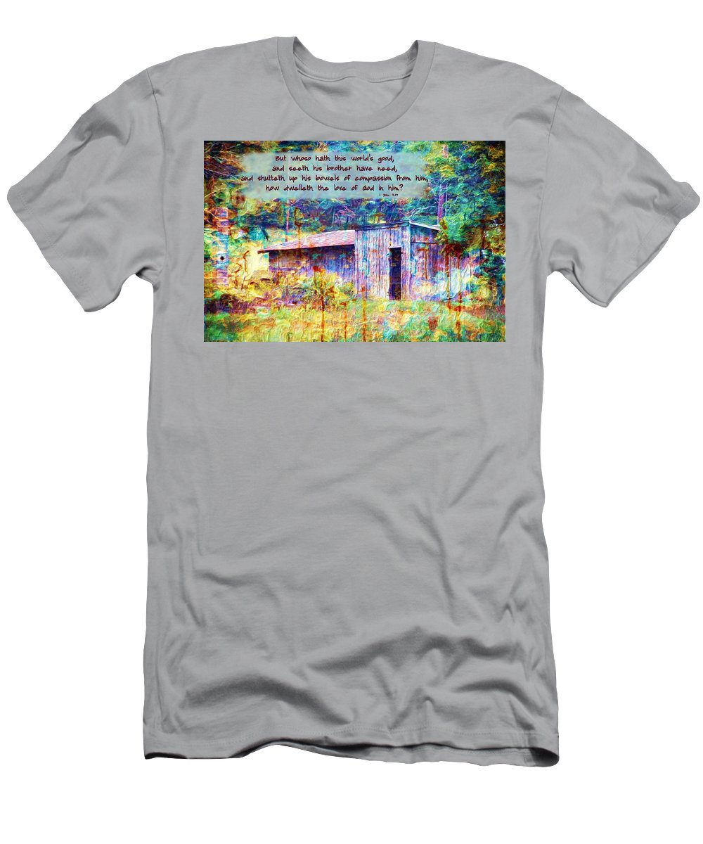 Jesus Men's T-Shirt (Athletic Fit) featuring the digital art 1 John 3 17 by Michelle Greene Wheeler
