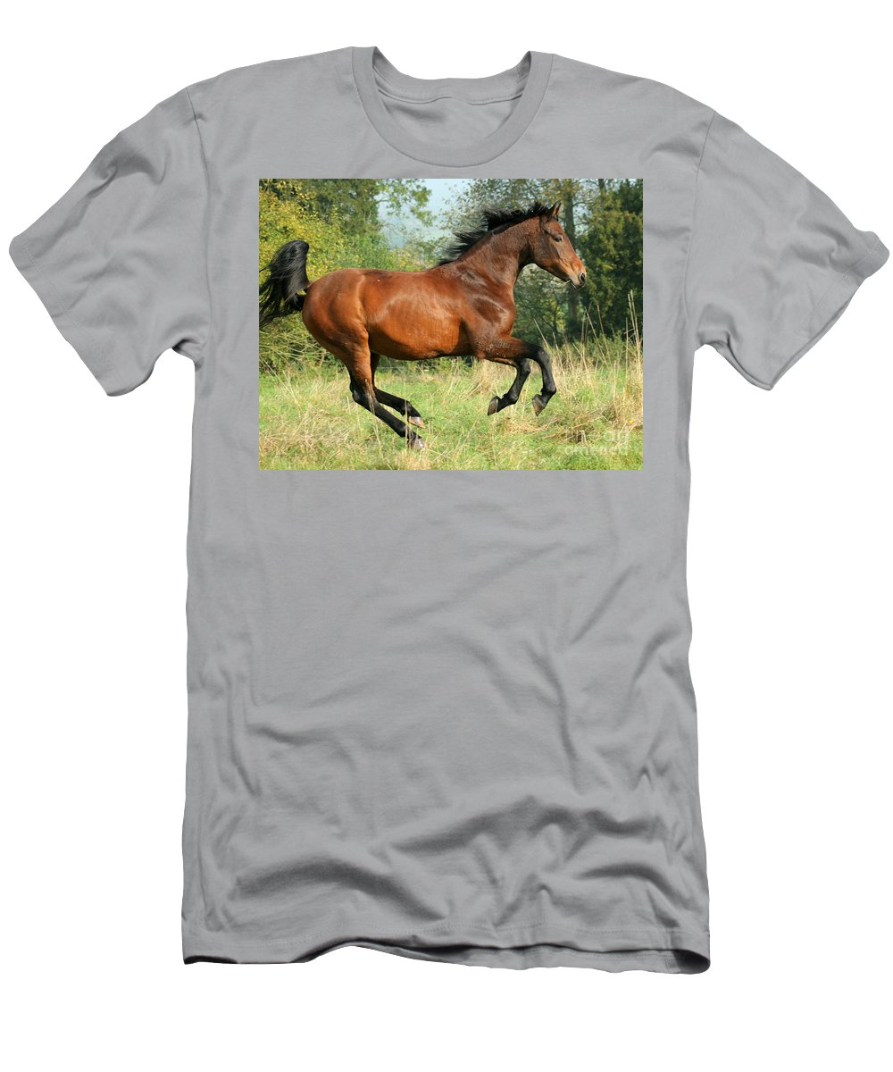 Horse Men's T-Shirt (Athletic Fit) featuring the photograph Jump Jump by Angel Ciesniarska