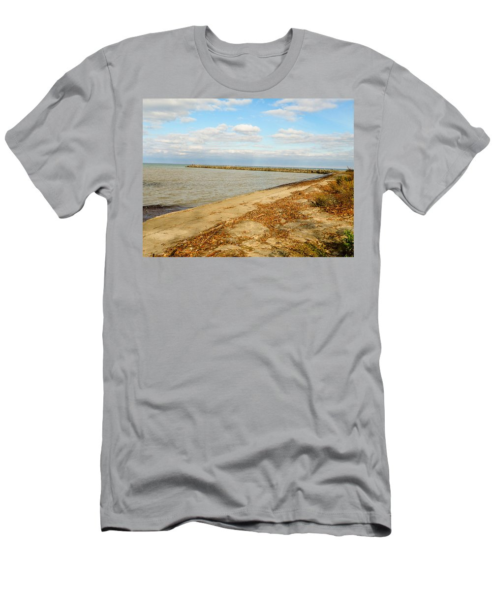 Lake Ontario Men's T-Shirt (Athletic Fit) featuring the photograph Lake Ontario Shoreline by Lou Cardinale