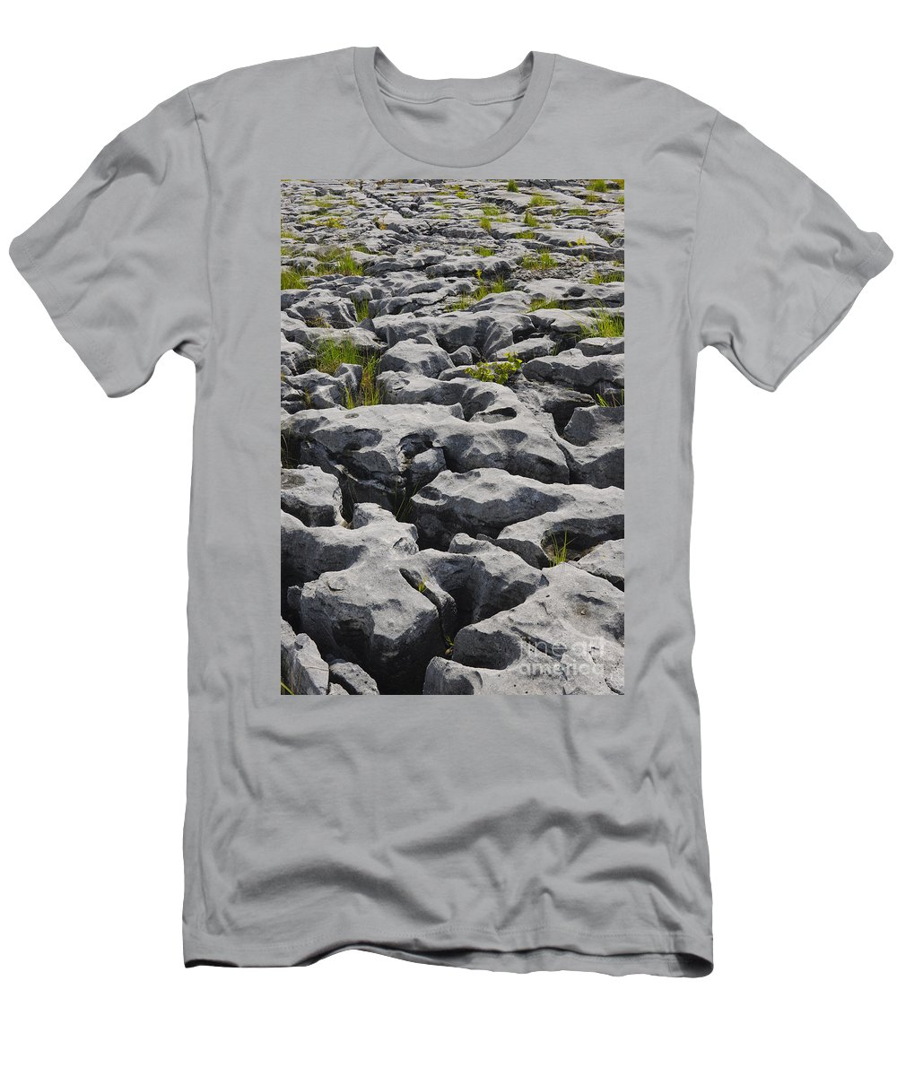 Ireland Men's T-Shirt (Athletic Fit) featuring the photograph Limestone In The Burren by John Shaw