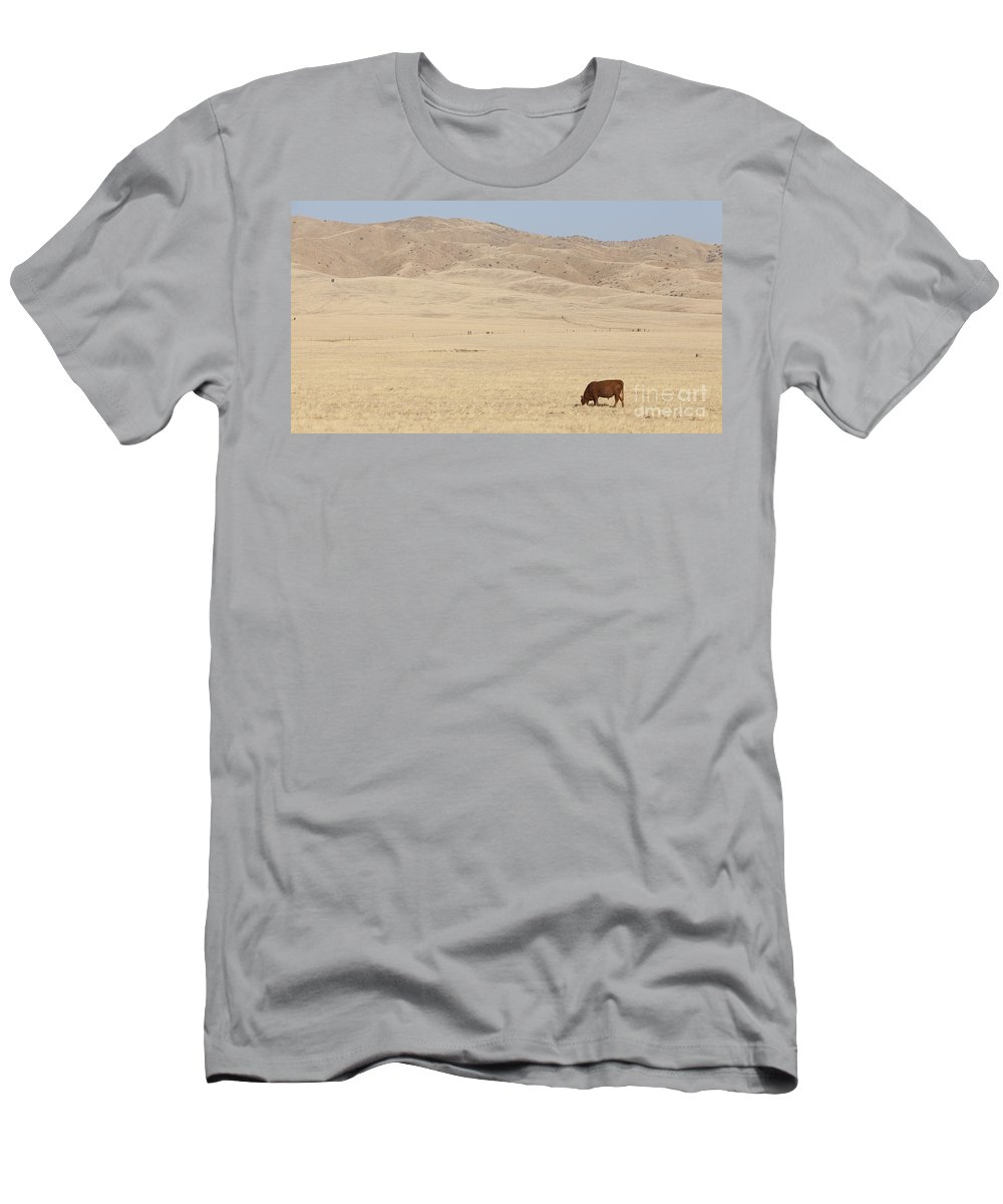Free Men's T-Shirt (Athletic Fit) featuring the photograph Lone Bull In Grassy Field by B Christopher