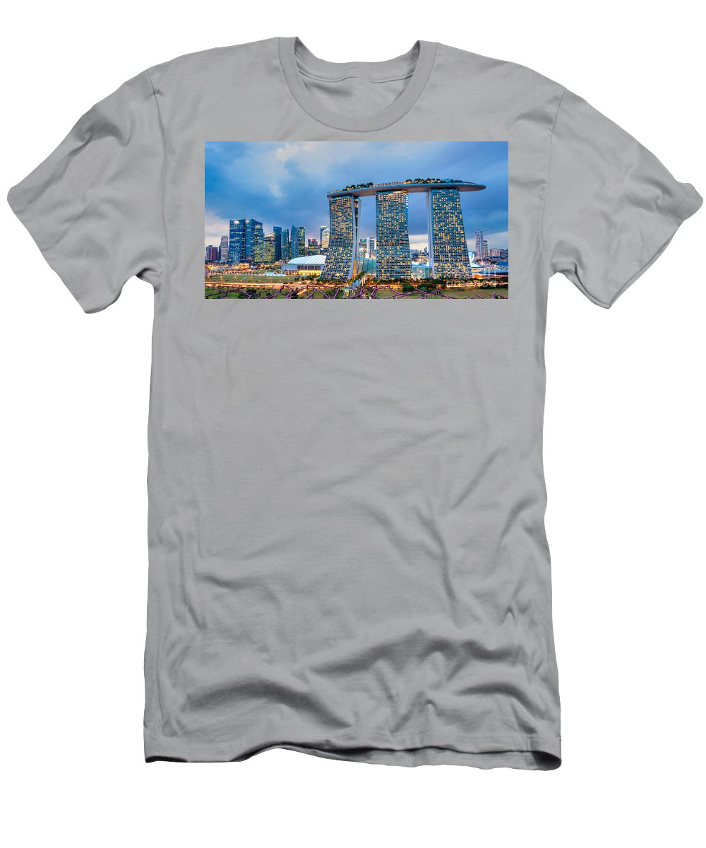 Night Men's T-Shirt (Athletic Fit) featuring the photograph Marina Bay Sands - Singapore by Luciano Mortula