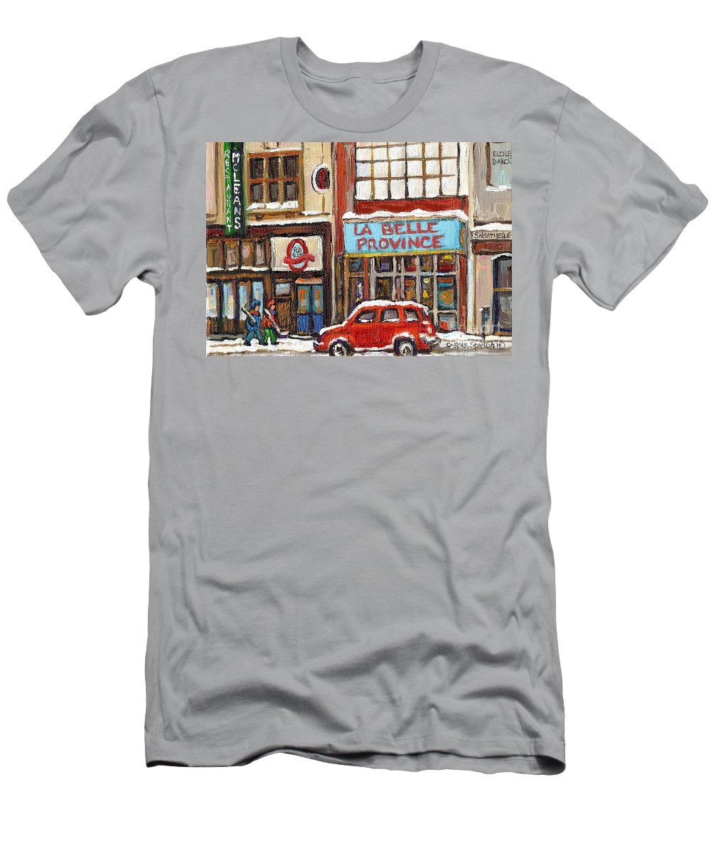 Montreal Men's T-Shirt (Athletic Fit) featuring the painting Mcleans Irish Pub Montreal by Carole Spandau