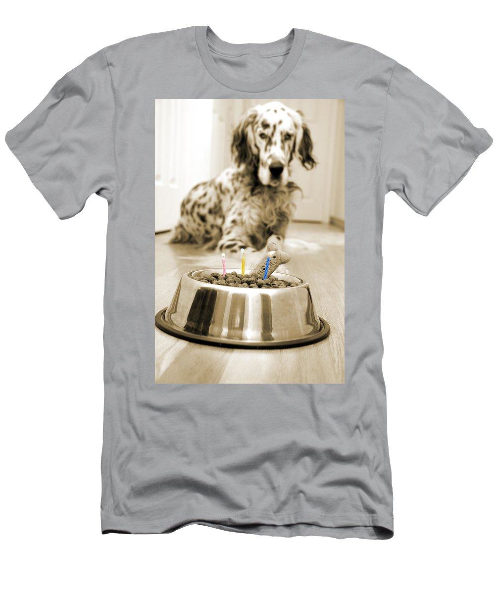 Dog Men's T-Shirt (Athletic Fit) featuring the photograph My Best Friend's Birthday by Alexey Stiop