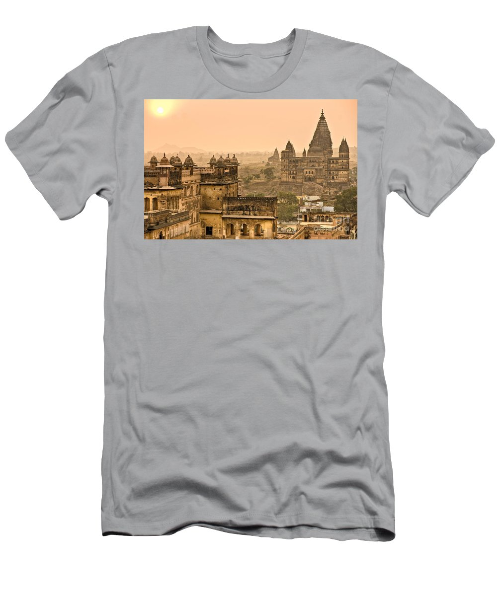 Orcha Men's T-Shirt (Athletic Fit) featuring the photograph Orchha's Palace - India by Luciano Mortula