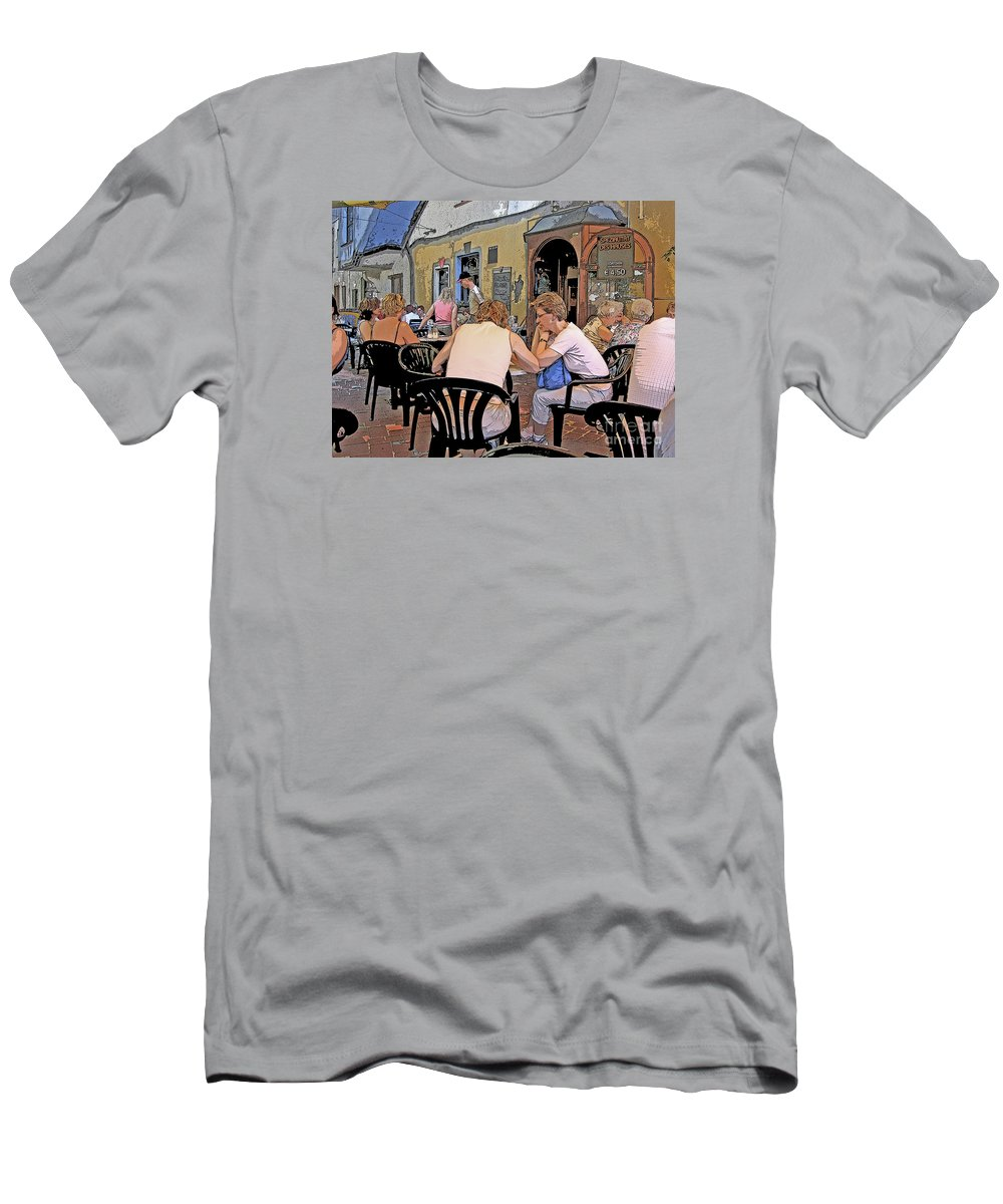 Austria Men's T-Shirt (Athletic Fit) featuring the photograph Outside Seating by Ann Horn
