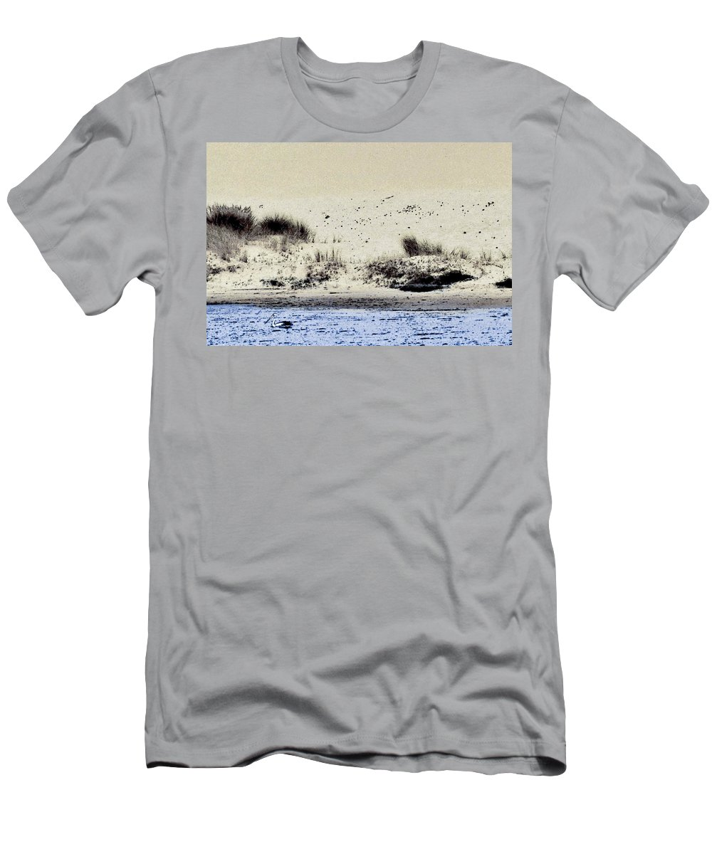 Landscape Men's T-Shirt (Athletic Fit) featuring the digital art Pelican At Coorong by Tim Richards