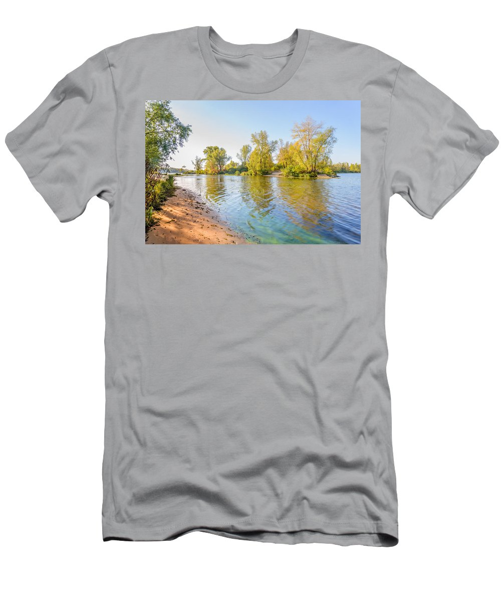 Dnieper Men's T-Shirt (Athletic Fit) featuring the photograph Plants And Trees Close To The River by Alain De Maximy