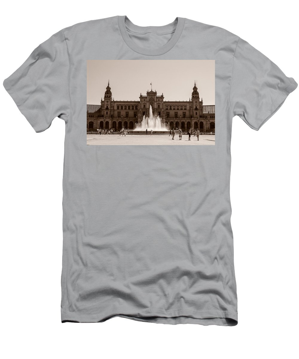 Seville Men's T-Shirt (Athletic Fit) featuring the photograph Plaza De Espana by Andrea Mazzocchetti