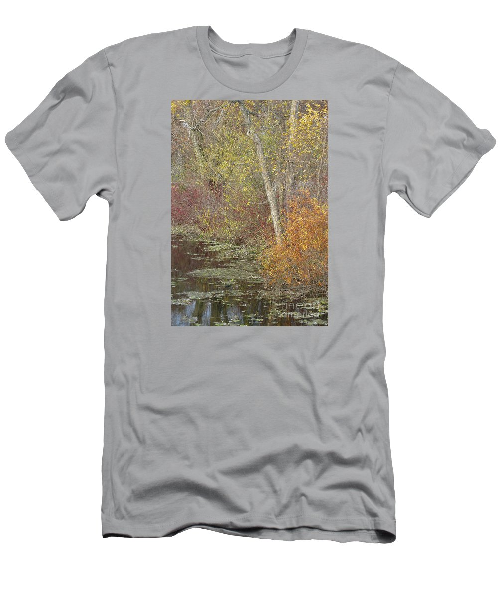 Autumn T-Shirt featuring the photograph Pondside Pastel by Ann Horn