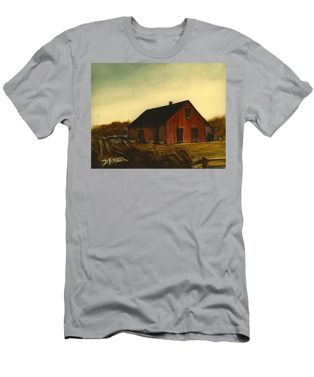 Countryside Men's T-Shirt (Athletic Fit) featuring the painting Red Barn  No. 3 by Diane Strain