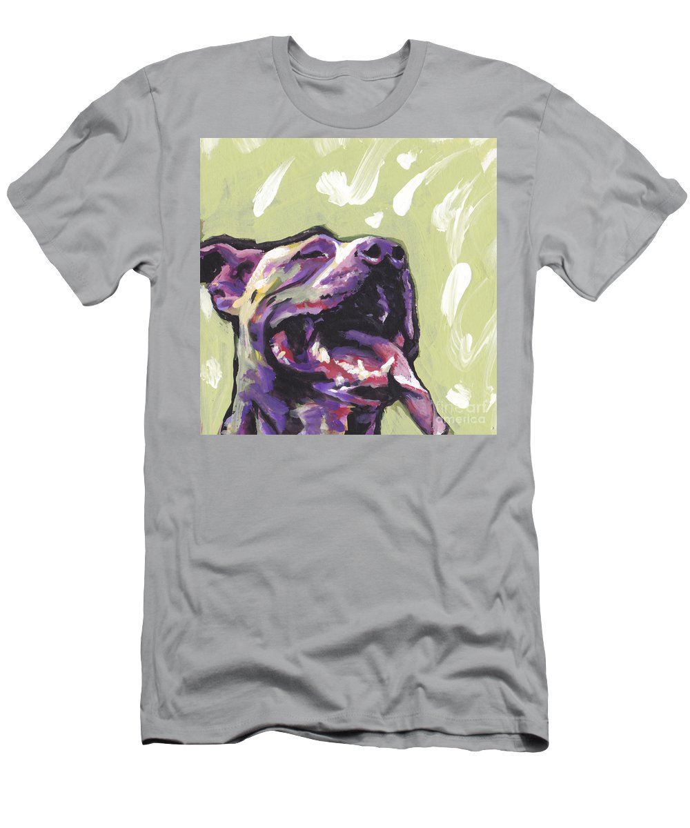 Pitbull Men's T-Shirt (Athletic Fit) featuring the painting Rescue Me by Lea S