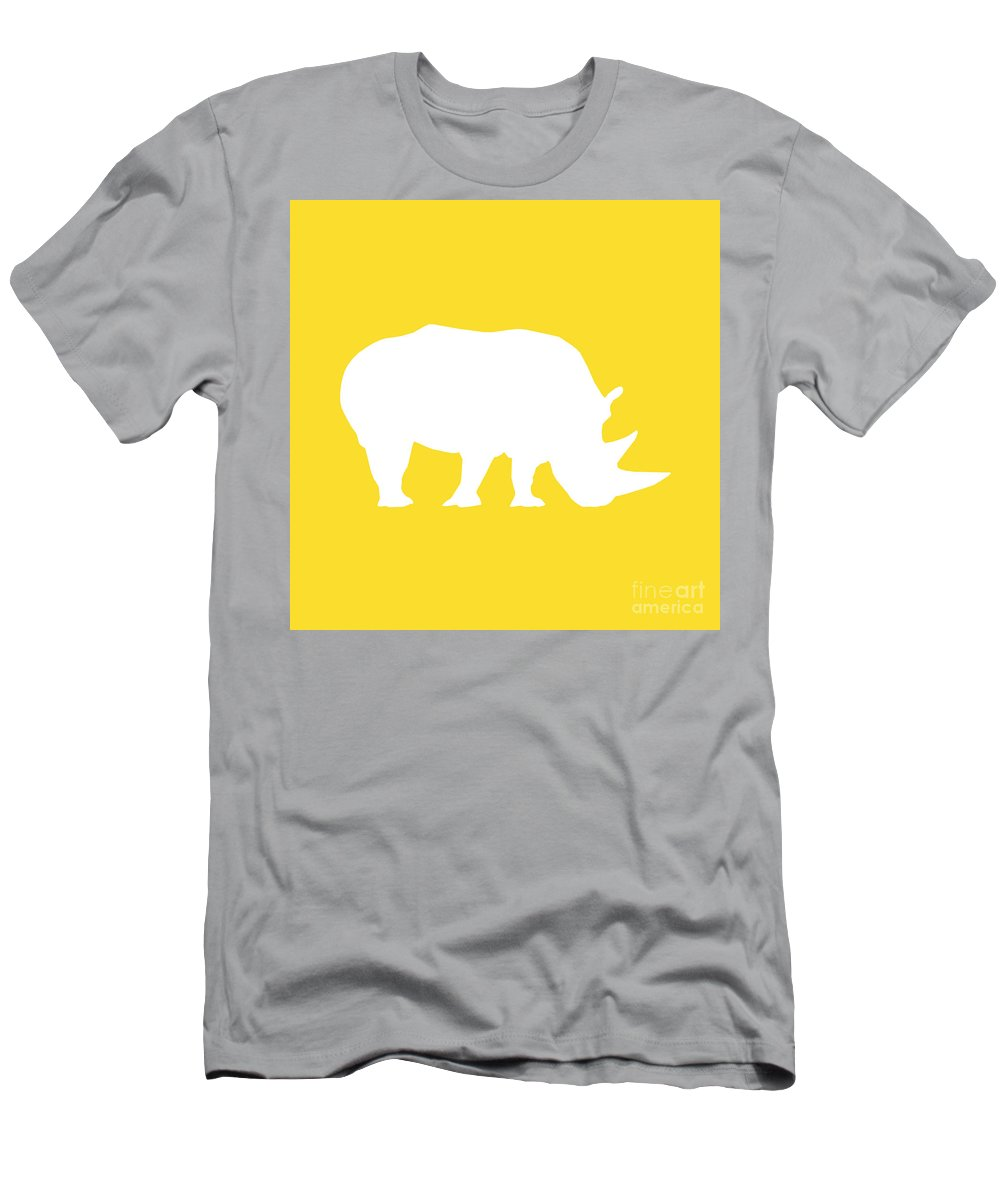 Graphic Art Men's T-Shirt (Athletic Fit) featuring the digital art Rhino In Golden And White by Jackie Farnsworth