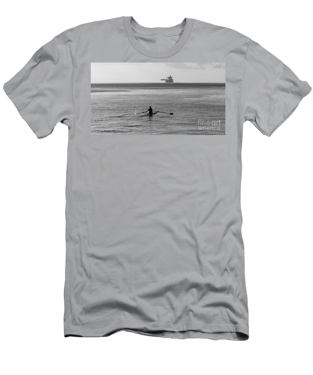 Sculling Men's T-Shirt (Athletic Fit) featuring the photograph Sculling On The Bay by B Christopher