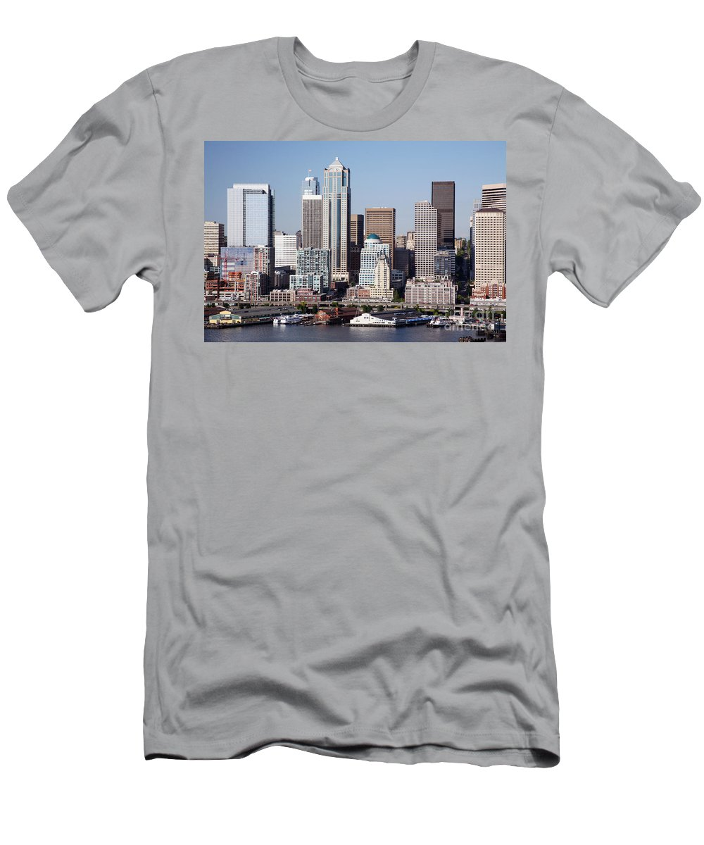 Alaskan Way Viaduct Men's T-Shirt (Athletic Fit) featuring the photograph Seattle Skyline by Bill Cobb