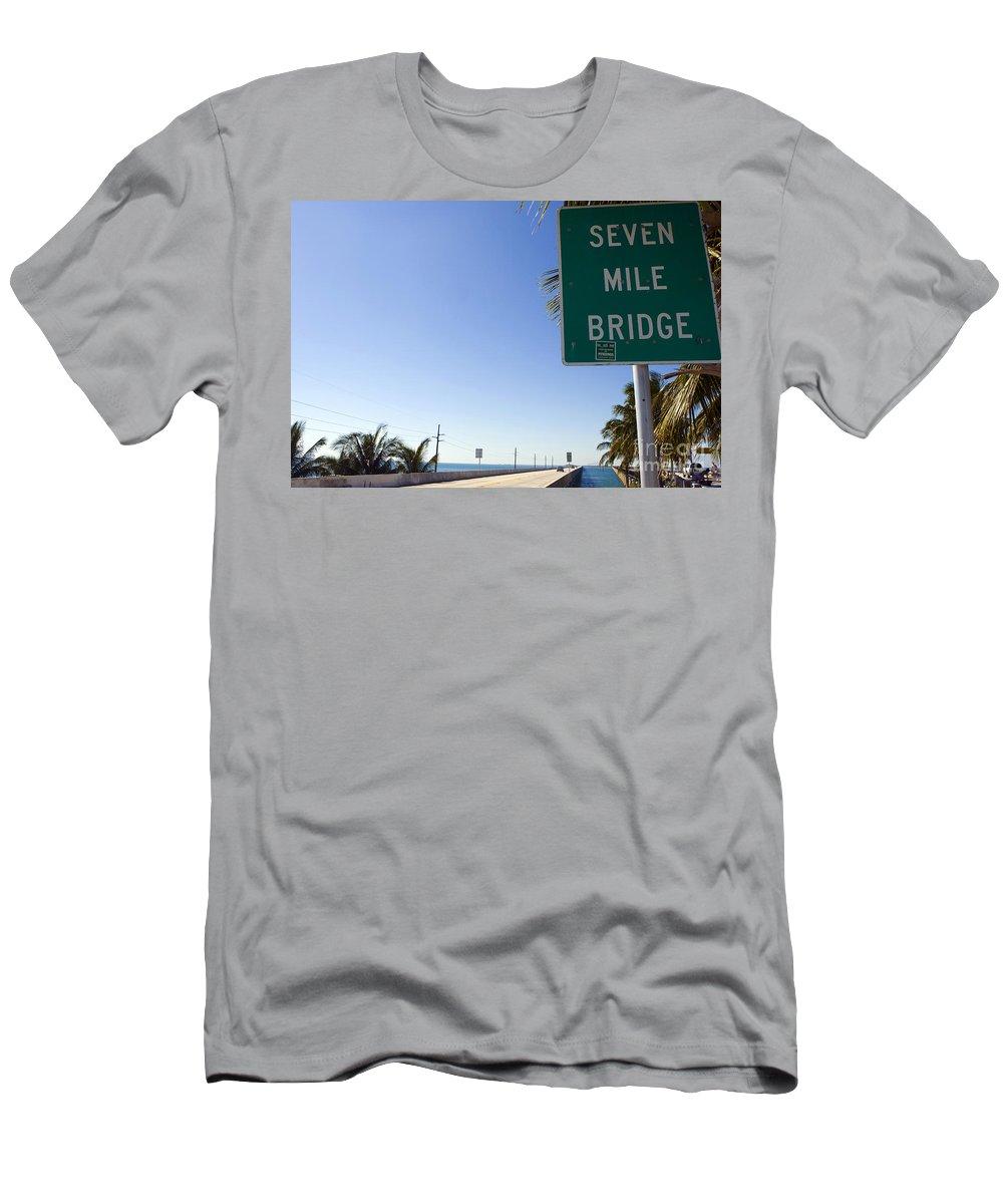 Seven Mile Bridge Men's T-Shirt (Athletic Fit) featuring the photograph Seven Mile Bridge Florida Keys by Jason O Watson