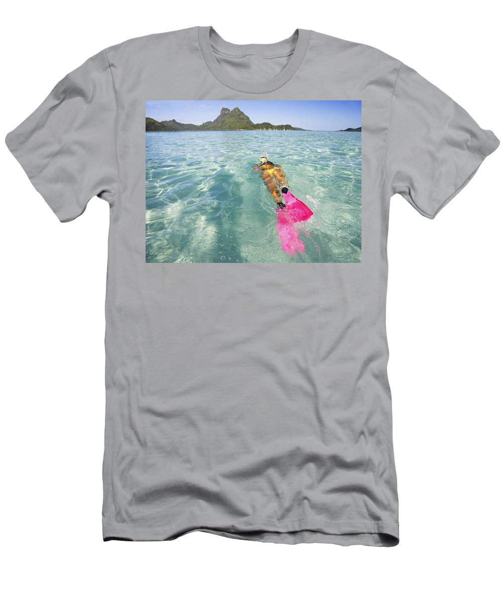 Amaze Men's T-Shirt (Athletic Fit) featuring the photograph Snorkeling In Polynesia by M Swiet Productions