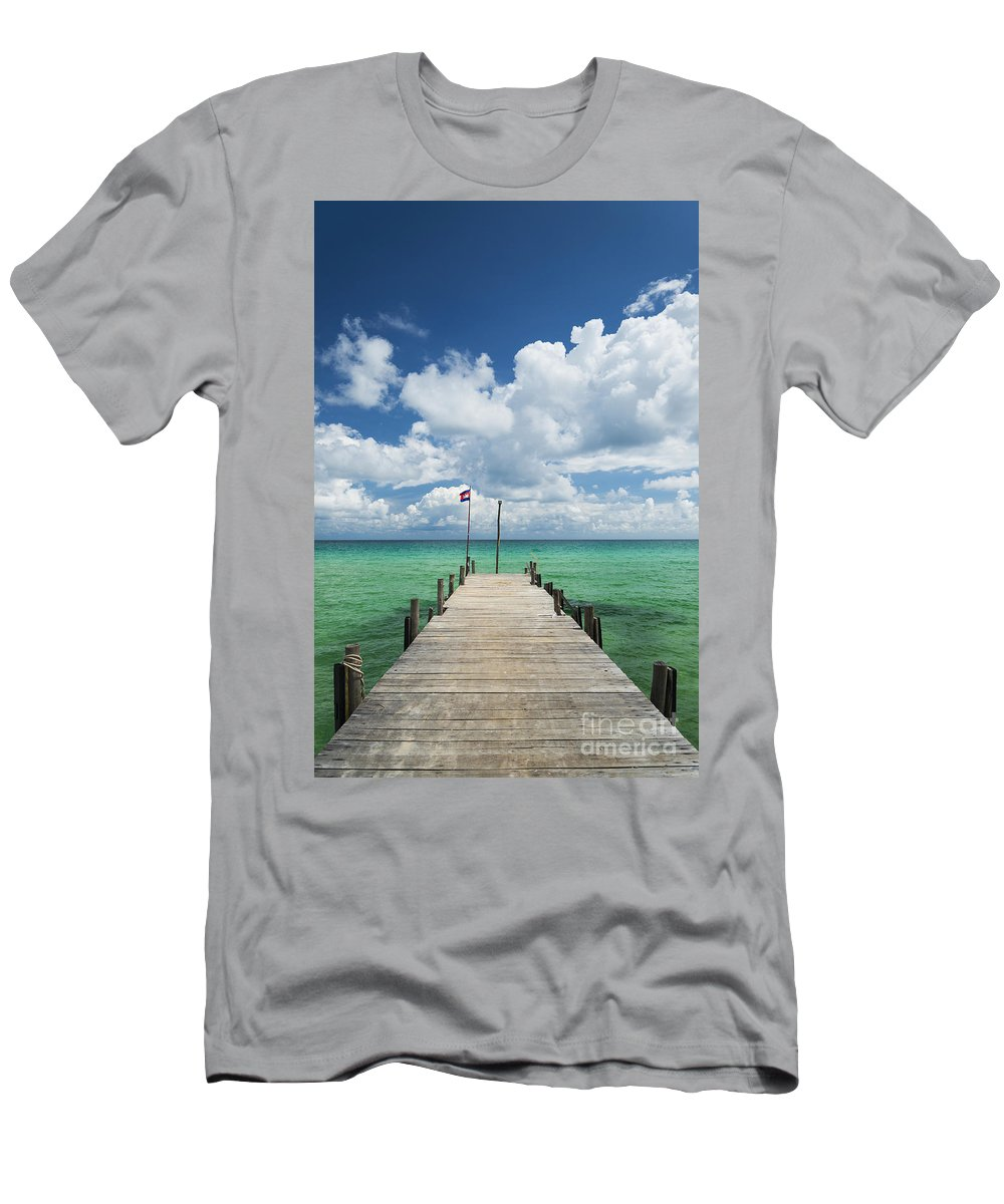 Asia Men's T-Shirt (Athletic Fit) featuring the photograph Sok San Pier On Long Beach In Koh Rong Island Cambodia by Jacek Malipan
