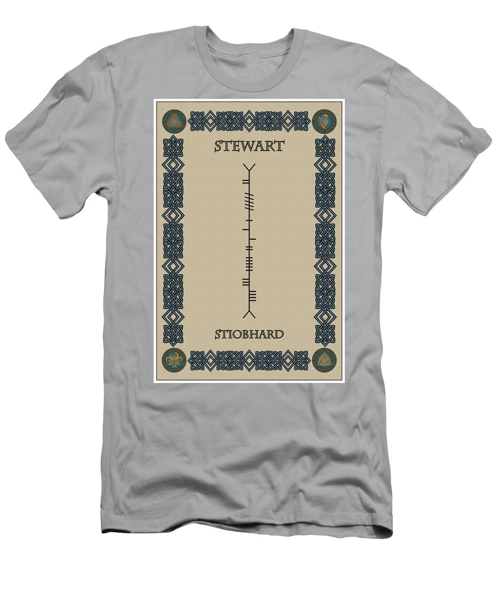 Stewart Men's T-Shirt (Athletic Fit) featuring the digital art Stewart Written In Ogham by Ireland Calling