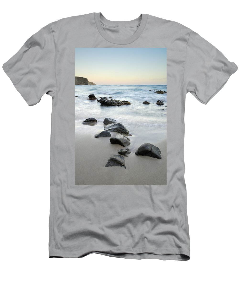 Seascape Men's T-Shirt (Athletic Fit) featuring the photograph Stones by Guido Montanes Castillo