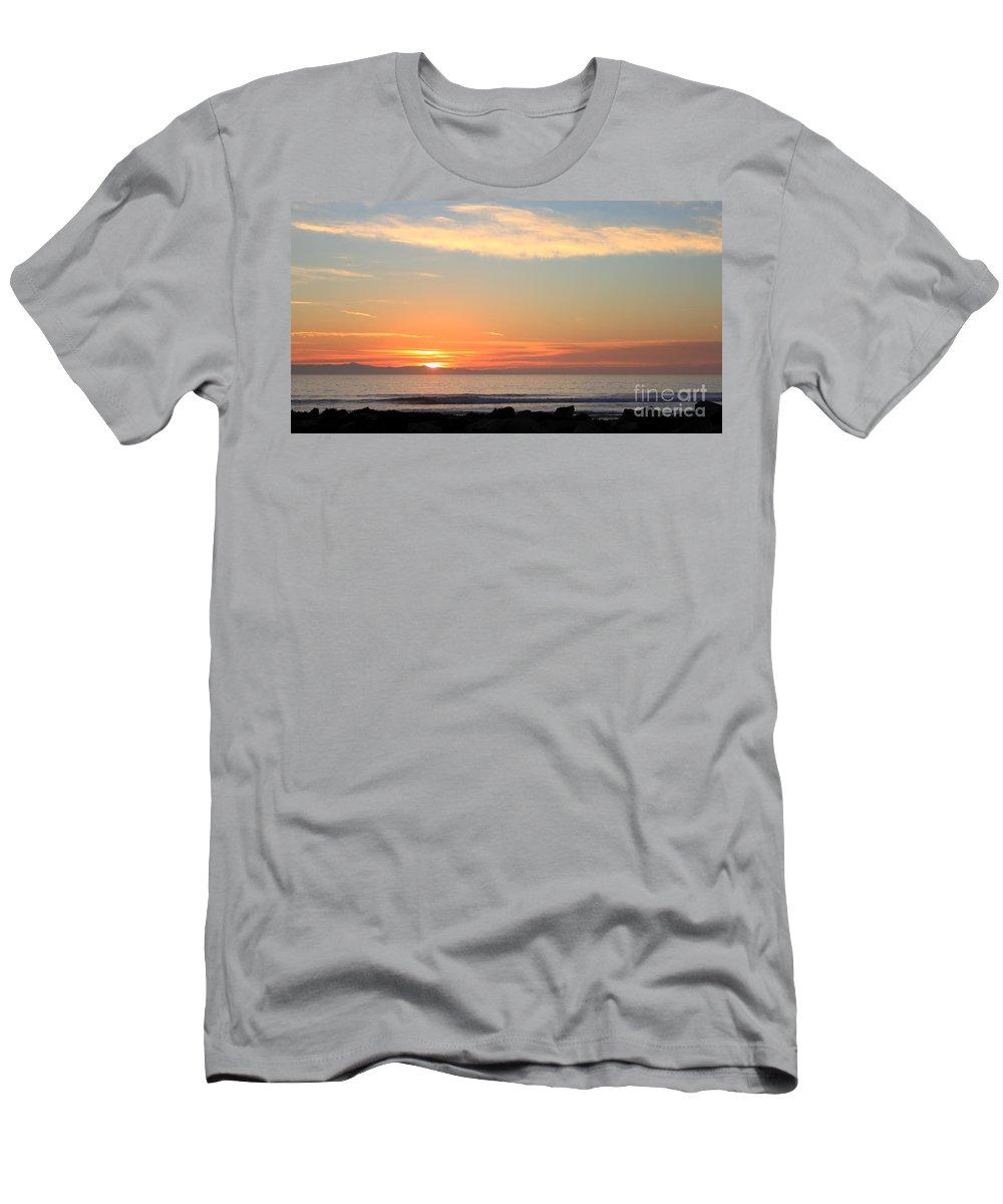 santa Cruz Island Men's T-Shirt (Athletic Fit) featuring the photograph Sunset by Henrik Lehnerer
