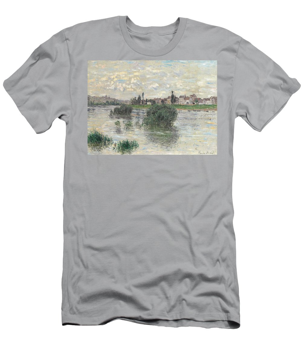 French Men's T-Shirt (Athletic Fit) featuring the painting The Seine At Lavacourt by Claude Monet