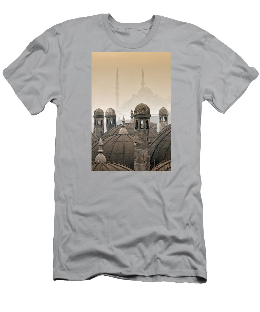 The Suleymaniye Mosque Men's T-Shirt (Athletic Fit) featuring the photograph The Suleymaniye Mosque And New Mosque In The Backround by Ayhan Altun