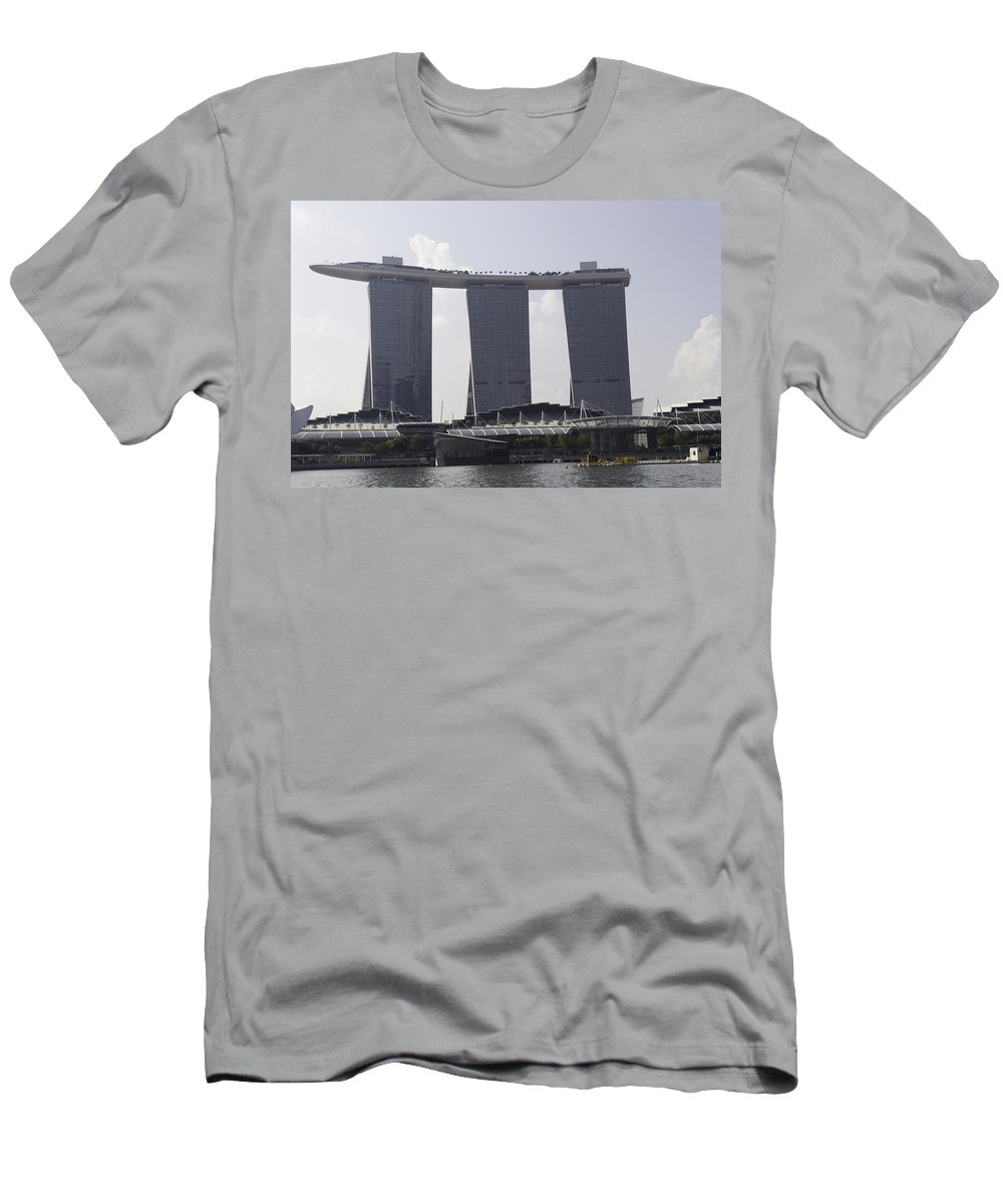 3 Towers Men's T-Shirt (Athletic Fit) featuring the photograph The Towers Of The Iconic Marina Bay Sands In Singapore by Ashish Agarwal