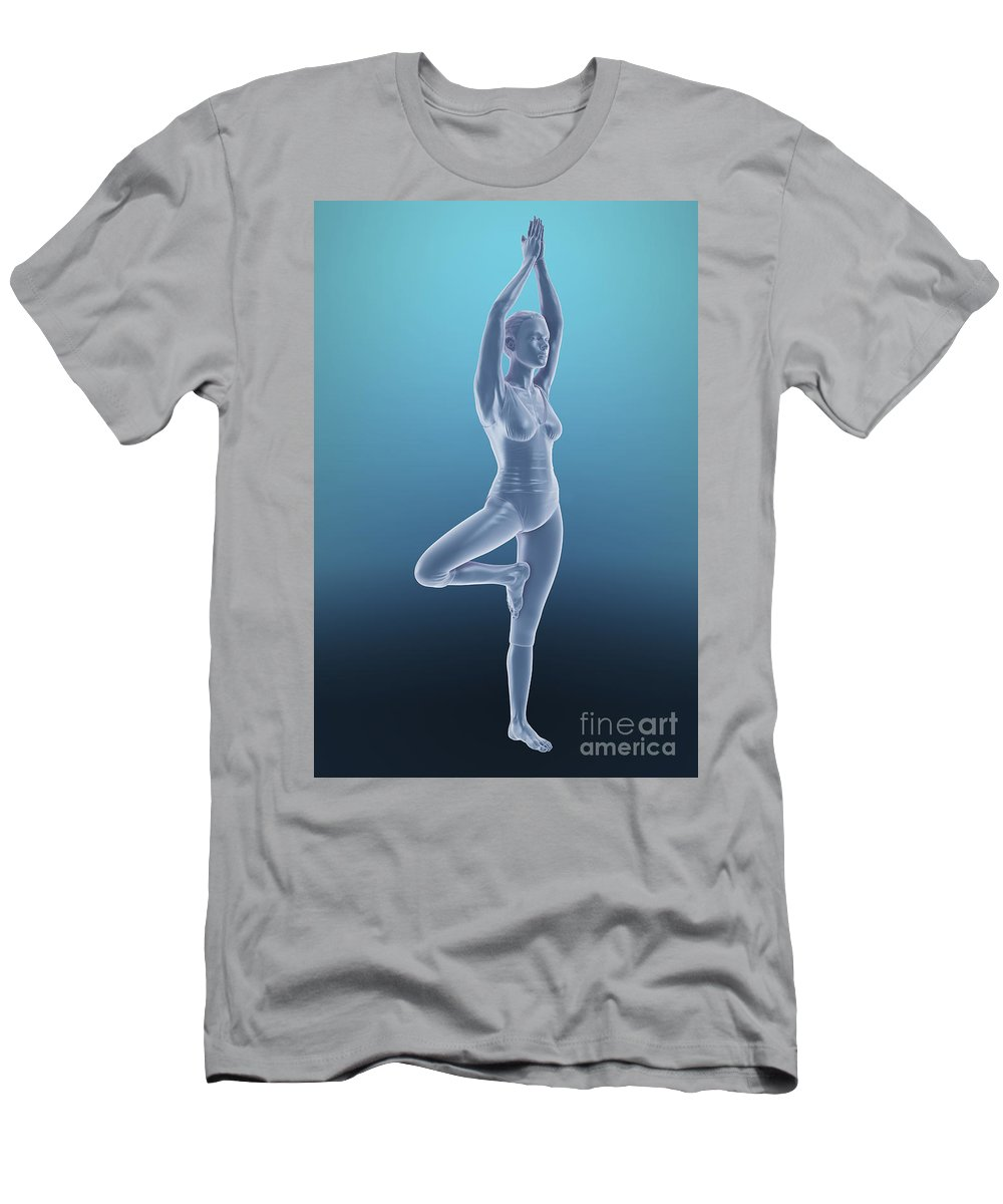 Agility Men's T-Shirt (Athletic Fit) featuring the photograph Tree Yoga Pose by Science Picture Co