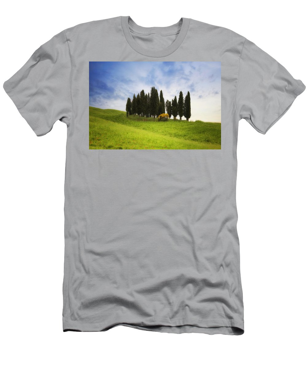 Montalcino Men's T-Shirt (Athletic Fit) featuring the photograph Tuscany - Montalcino by Joana Kruse
