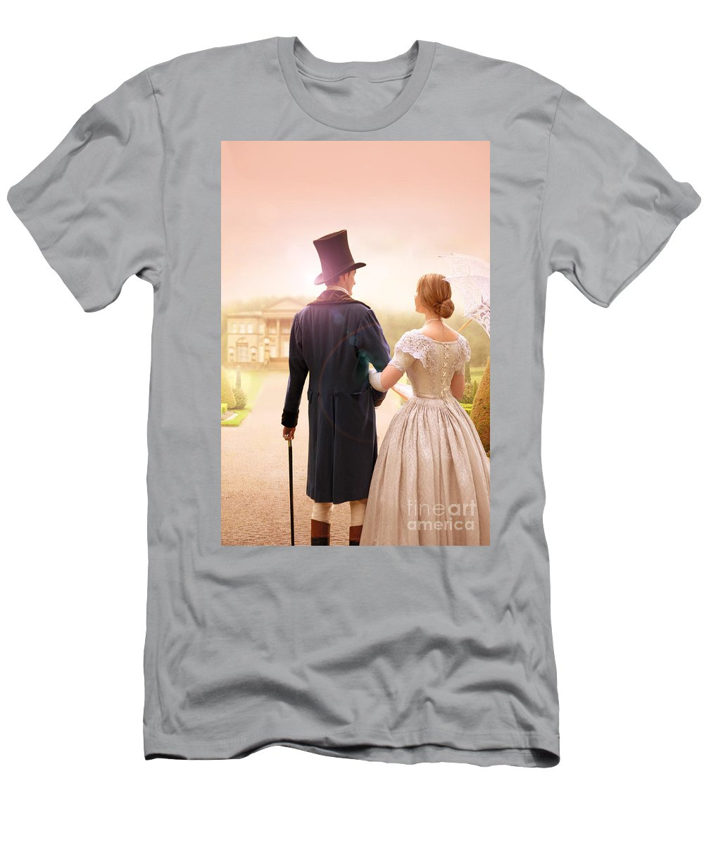 Victorian Men's T-Shirt (Athletic Fit) featuring the photograph Victorian Couple Walking Towards A Country Estate by Lee Avison