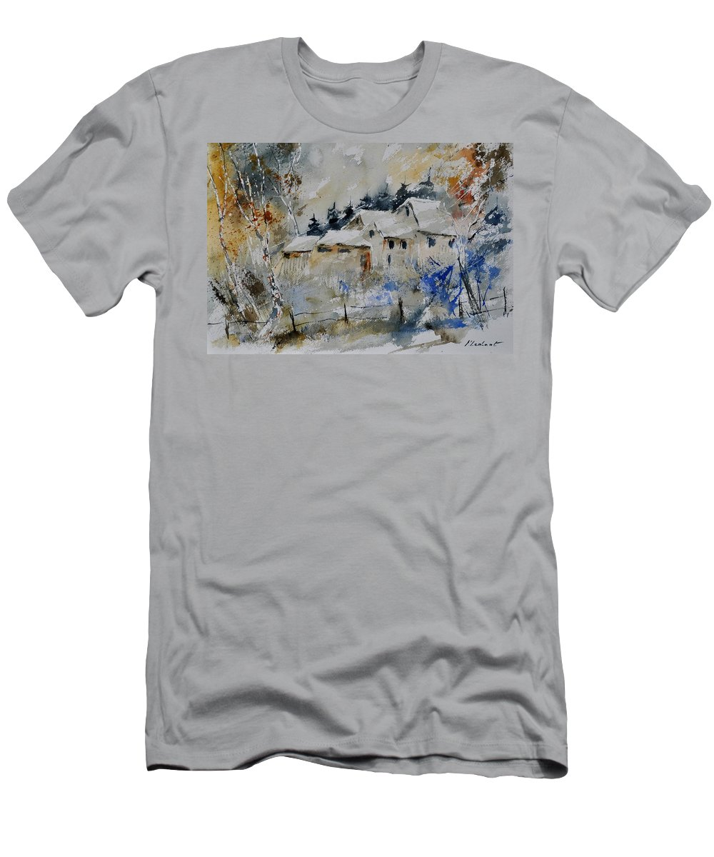 Landscape Men's T-Shirt (Athletic Fit) featuring the painting Watercolor 419082 by Pol Ledent