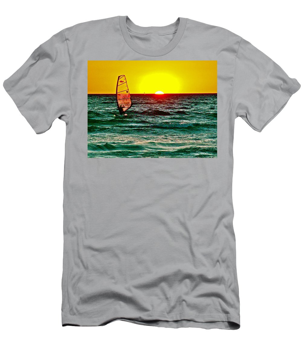 Windsurfer At Sunset On Lake Michigan From Empire Men's T-Shirt (Athletic Fit) featuring the photograph Windsurfer At Sunset On Lake Michigan From Empire-michigan by Ruth Hager