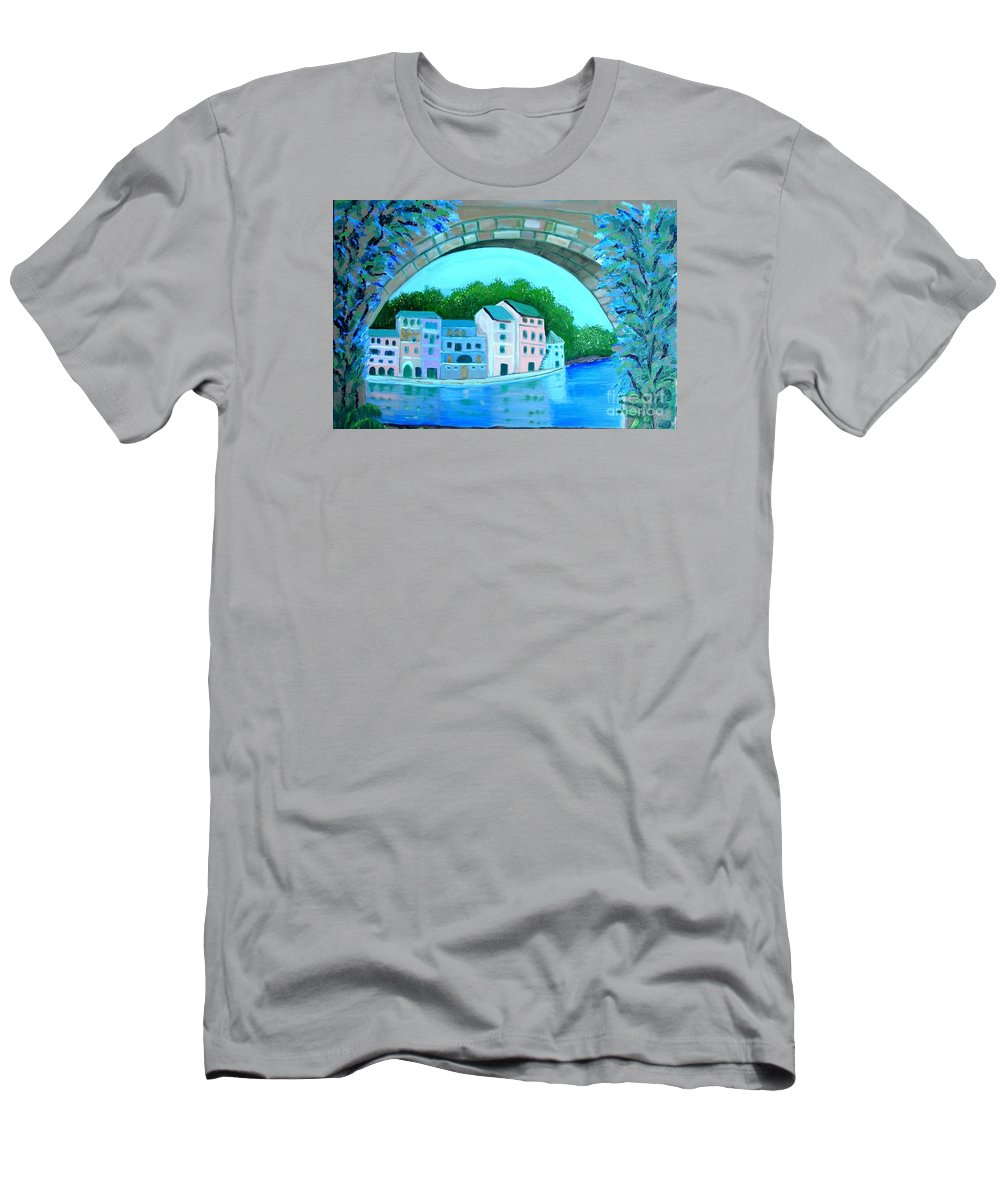 Wisteria T-Shirt featuring the painting Wisteria Bridge by Laurie Morgan