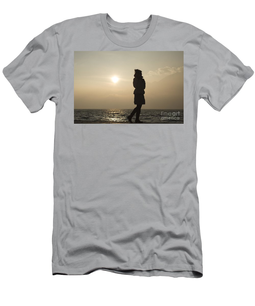 Woman Men's T-Shirt (Athletic Fit) featuring the photograph Woman Walking On The Lake Front by Mats Silvan