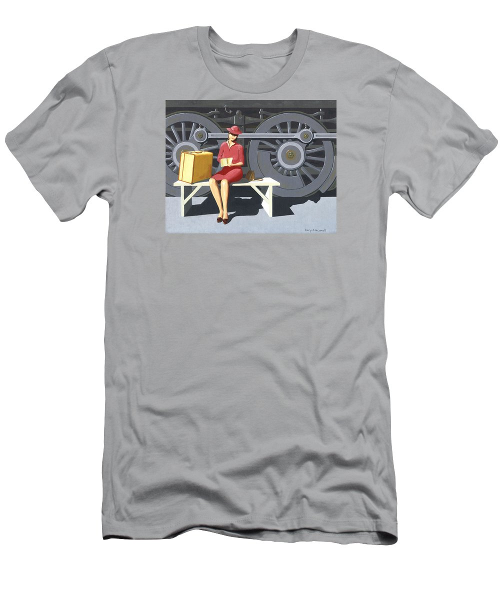 Woman Men's T-Shirt (Athletic Fit) featuring the painting Woman With Locomotive by Gary Giacomelli
