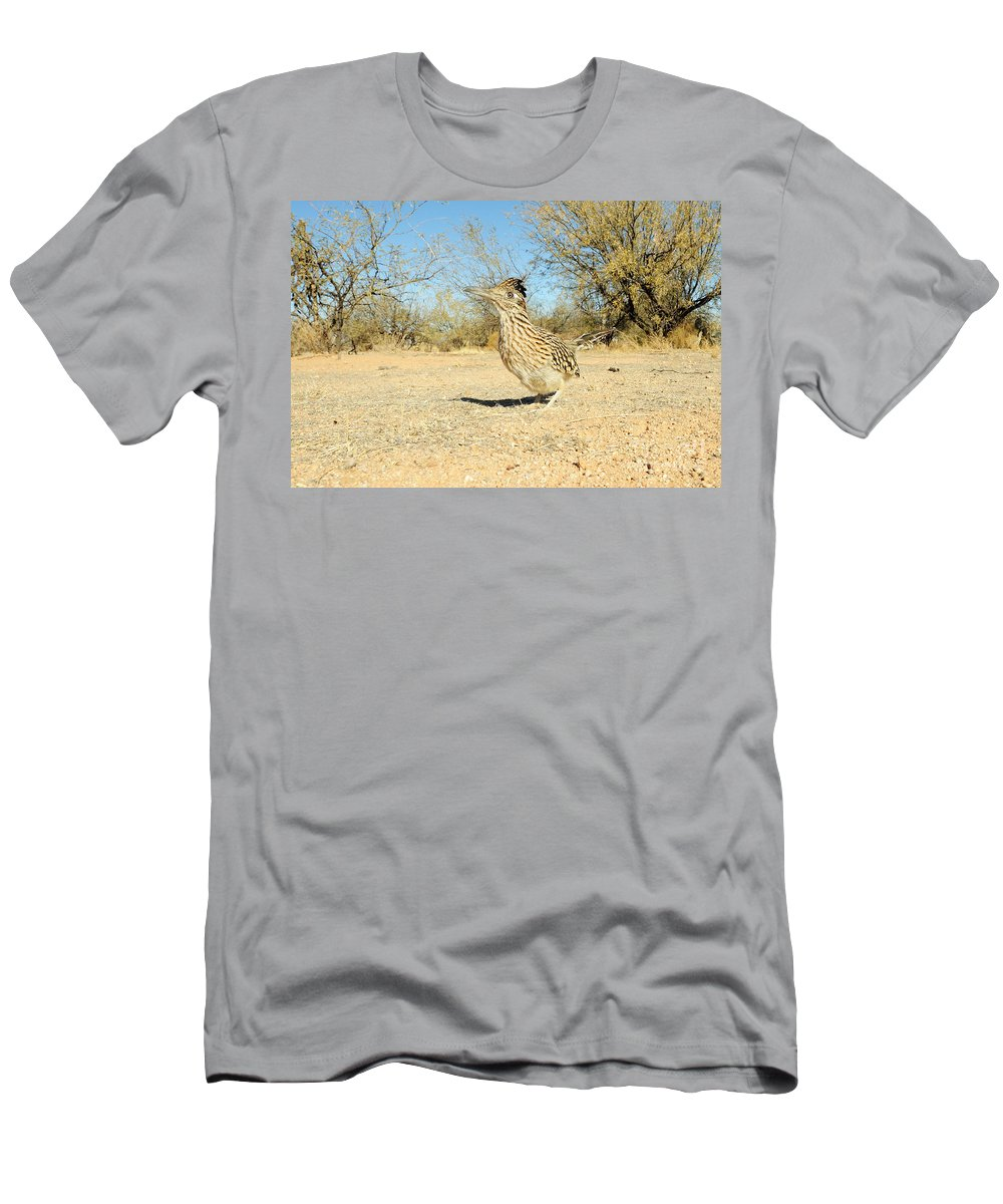 Animal Men's T-Shirt (Athletic Fit) featuring the photograph Greater Roadrunner by Scott Linstead
