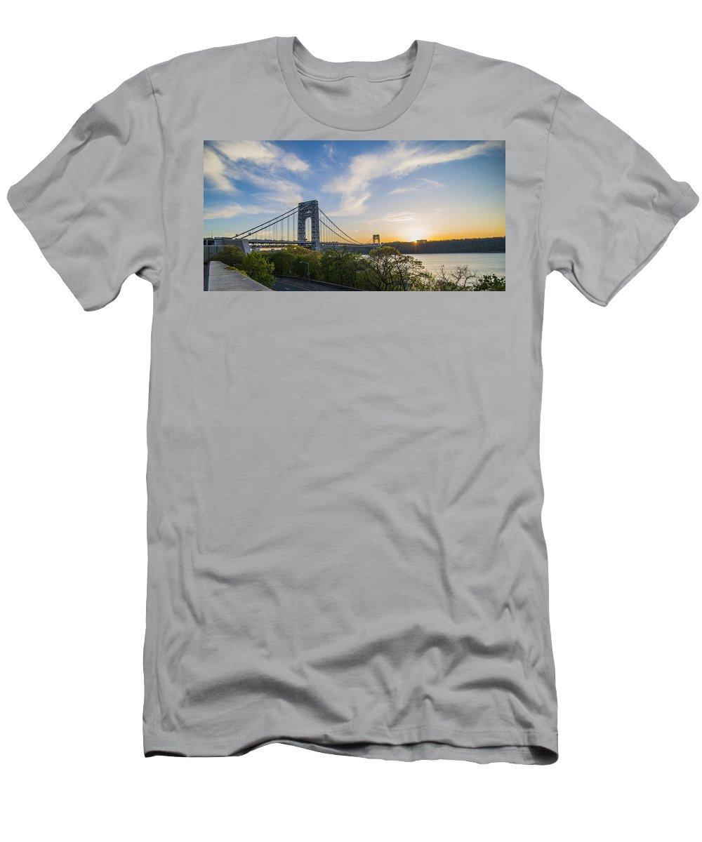 Bridge Men's T-Shirt (Athletic Fit) featuring the photograph George Washington Bridge by Theodore Jones